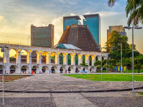 Arcos da Lapa (Lapa Arch) and Metropolitan Cathedral in Rio de Janeiro, Brazil Wallpaper Mural
