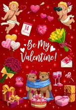 Valentines Day, Pink Hearts With Arrow And Cupid Angels With Flowers. Vector Be My Valentine Quote, Wedding Ring And Romantic Gifts, Bears Couple With Heart Lollipop Cake