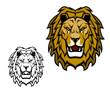 Lion head mascot. King of animal, african safari, sport club or heraldic vector symbol. Savannah wild cat roaring showing teeth, fangs and brown mane. Isolated cartoon sport mascot