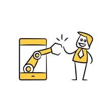 Businessman And Robotic Arm In Mobile Phone Yellow Stick Figure And Doodle Man