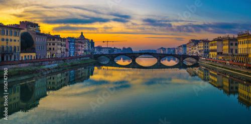 Florence, Ponte alla Carraia medieval Bridge landmark on Arno river at sunset Wallpaper Mural