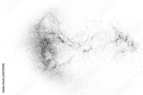Obraz Black Grainy Texture Isolated On White Background. Dust Overlay. Dark Noise Granules. Digitally Generated Image. Vector Design Elements, Illustration, Eps 10. - fototapety do salonu