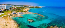 Protaras. Cyprus. Kalamis. Paralimni Harbor Top View. The Picturesque Harbor In Protaras. Pratoras City With Quadcopter. Holidays In Cyprus. Boat Parking. Mediterranean Sea. Republic Of Cyprus.