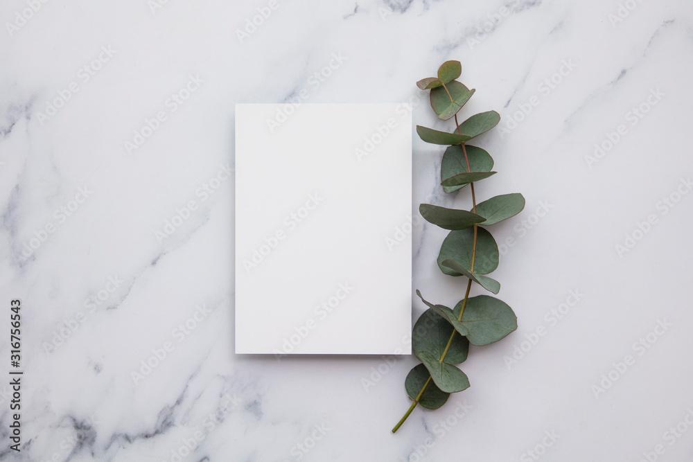 Fototapeta Blank white invitation stationery card with eucalyptus leaves.