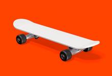 White Skateboard On A Red Back...