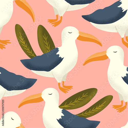 Fototapeta  Vector textured albatross animal seamless pattern in a flat style