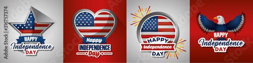 Fotografie, Tablou  bundle of presidents day set emblems