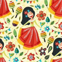 Seamless Vector Pattern With Singing Happy Mexican Girl Flat Cartoon Illustration. Latin Woman In Tradition Dress With Margarita Cocktail Carnival Background.