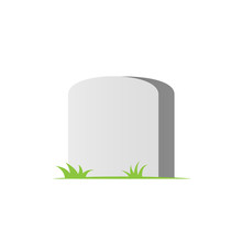 Blank Headstone Icon. Clipart Image Isolated On White Background