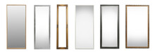 Set Of Different Stylish Mirrors On White Background