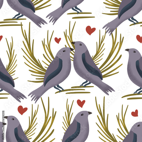 vector-textured-bowerbird-seamless-pattern-in-a-flat-style-romantic-bird-animal-couple-hand-drawn-illustration-with-hearts-on-a-white-background