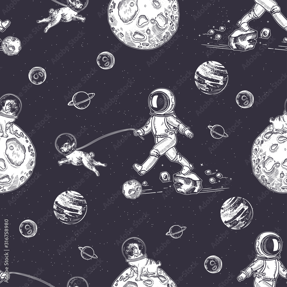 Astronaut walks with a dog. A dog in space. Illustration on the theme of astronomy.