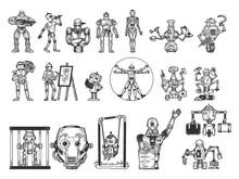 Robots Set Sketch Engraving Vector Illustration. T-shirt Apparel Print Design. Scratch Board Imitation. Black And White Hand Drawn Image.