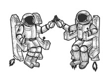 Astronaut In Spacesuit Drink Beer Sketch Engraving Vector Illustration. T-shirt Apparel Print Design. Scratch Board Style Imitation. Black And White Hand Drawn Image.