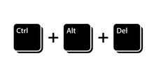 Ctrl Alt Del Key Icon. Clipart Image Isolated On White Background
