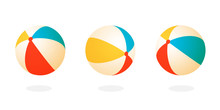Beach Ball Set Icon. Clipart Image Isolated On White Background