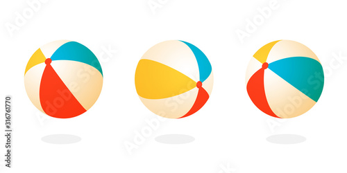 Fotografering Beach ball set icon. Clipart image isolated on white background