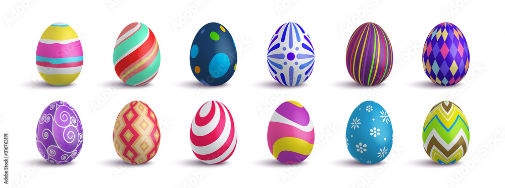 Fototapeta Set of cute colorful 3d realistic Easter eggs on isolated background, decorative vector elements collection