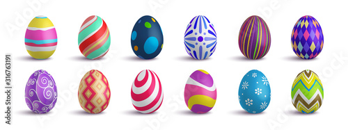 Set of cute colorful 3d realistic Easter eggs on isolated background, decorative vector elements collection