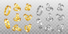 Vector Gold And Silver Wedding Rings Set Isolated On  Transparent Background.