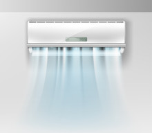 Vector Realistic Air Conditioner On Wall Background With Fresh Air.