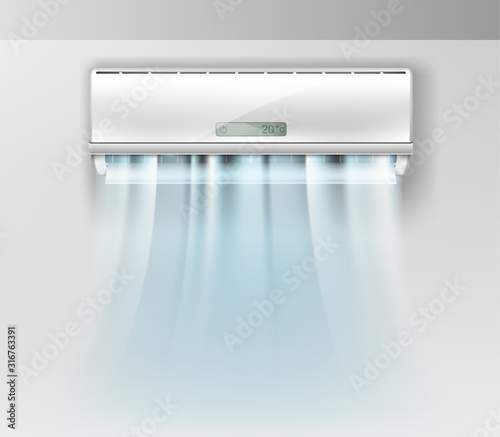 Photo Vector realistic air conditioner on wall background with fresh air