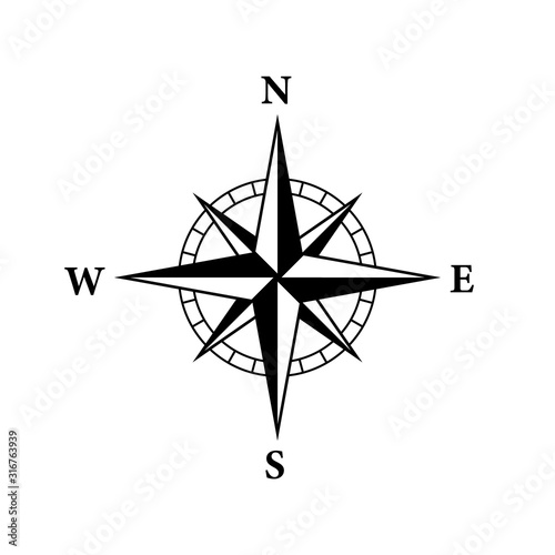Fotografía 8 Point compass icon. Clipart image isolated on white background