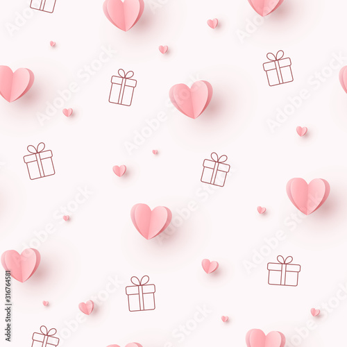 Hearts with gift boxes on pink background Tableau sur Toile