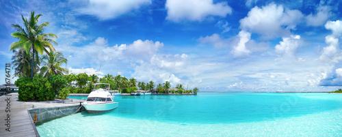 Obraz na płótnie White Boat at pier with palm trees, Maldives island