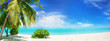Leinwanddruck Bild - Beautiful tropical beach with white sand, palm tree,  turquoise ocean on  background blue sky with clouds on sunny summer day. Perfect landscape background for relaxing vacation, island of Maldives.