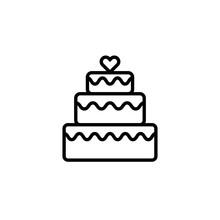 Three Tier Cake Line Icon. Cli...
