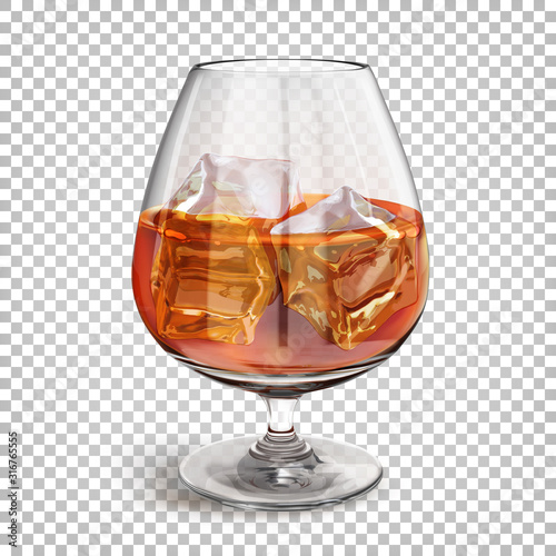 Fotomural Transparent shiny glass on a leg with cognac with ice cubes