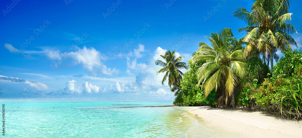 Fototapeta Beautiful tropical beach with white sand, palm trees,  turquoise ocean against blue sky with clouds on sunny summer day. Perfect landscape background for relaxing vacation, island of Maldives.