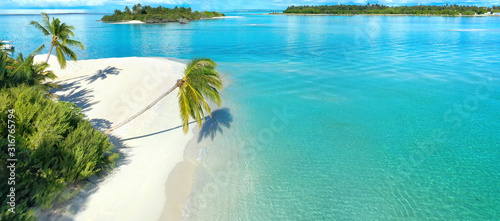 Obraz na plátne Beautiful white sandy beach with turquoise ocean water, waves, green palm trees bent over water, Aerial view, island, tropical landscape Maldives, copy space