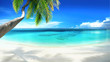 Leinwandbild Motiv Beautiful tropical beach with white sand, turquoise ocean on  background blue sky with clouds on sunny summer day. Palm tree leaned over water. Perfect landscape for relaxing vacation, island of Maldi