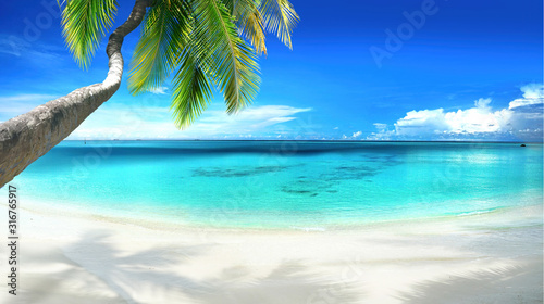 Fototapeta krajobraz   beautiful-tropical-beach-with-white-sand-turquoise-ocean-on-background-blue-sky-with-clouds-on-sunny-summer-day-palm-tree-leaned-over-water-perfect-landscape-for-relaxing-vacation-island-of-maldi