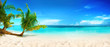 Leinwanddruck Bild - Beautiful beach with white sand, turquoise ocean, blue sky with clouds and palm tree over the water on a Sunny day. Maldives, perfect tropical landscape, ultra wide format.