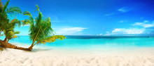 Beautiful Beach With White Sand, Turquoise Ocean, Blue Sky With Clouds And Palm Tree Over The Water On A Sunny Day. Maldives, Perfect Tropical Landscape, Ultra Wide Format.