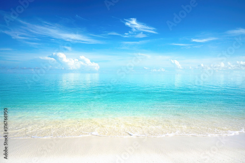 Beautiful sandy beach with white sand and rolling calm wave of turquoise ocean on Sunny day. White clouds in blue sky are reflected in water.  Maldives, perfect scenery landscape, copy space. - 316766950