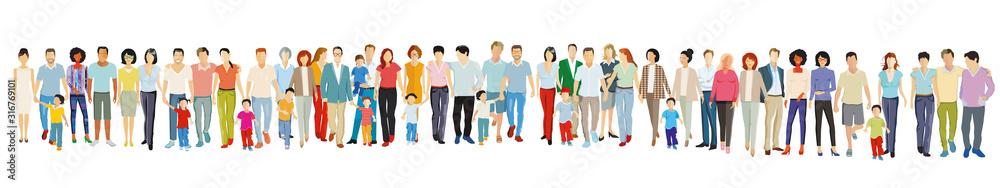 Fototapeta Große freundliche Menschengruppe stehen zusammen