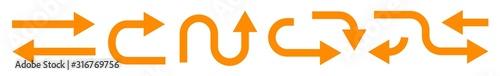 Fototapeta Arrow Icon Orange   Arrows   Infographic Illustration   Direction Symbol   Point