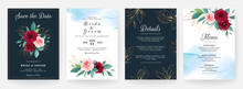 Set Of Cards With Floral Decor...