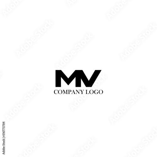 Photo Initial MV letter logo modern design