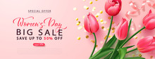Women's Day Big Sale Poster.8 March Holiday Background With Tulips And Golden Serpentine. Vector Illustration For Banner, Brochures, Booklets, Promotional Materials, Website.