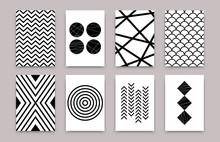 Abstract Geometric Scandinavian Pattern Set. Vector Minimalistic Art Posters Simple Swiss Style. Design Template For Wallpaper, Flyer, Banner, Home Decor. Black And White Illustrations