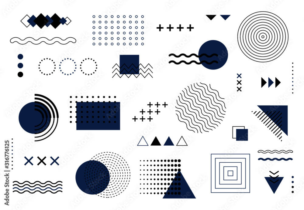 Geometric abstract elements memphis style. Vector blue and black minimal shapes for modern cover design. Set of funky bold constructivism graphics for posters, flyers