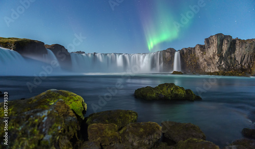 Northern Light at Godafoss waterfall in Iceland - 316779330