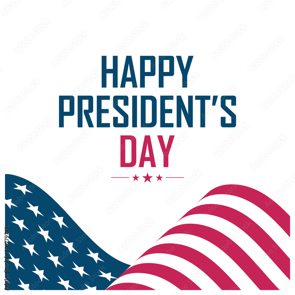 Fototapeta United States President's Day greeting card with waving USA national flag. Vector illustration.