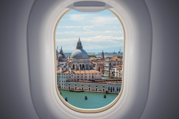 View from airplane window on Venice city in Italy.