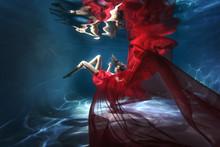 Underwater Scene. A Woman, A F...